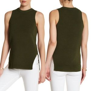 Topshop Olive Green Ribbed Sleeveless Knit Top